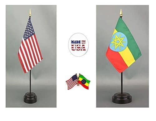 Made in The USA 1 American and 1 Egypt 4x6 Miniature Desk /& Table Flag Includes 2 Flag Stands and 2 Small Mini Stick Flags